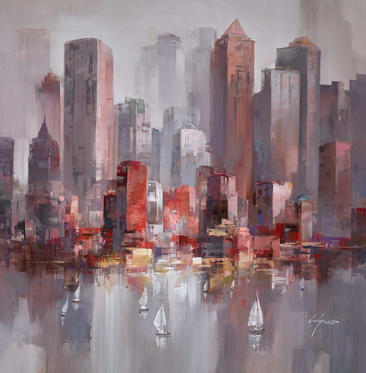 Sailing to the City I by wilfred -  sized 38x38 inches. Available from Whitewall Galleries